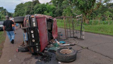 Photo of Choque deja dos lesionados sobre carretera de Santiago de María