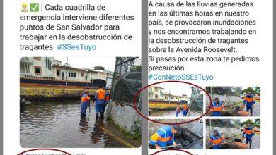 """Photo of Muyshondt utiliza """"fotos recicladas"""" en Twitter para vender la idea de que la alcaldía destapa tragantes por las últimas lluvias"""